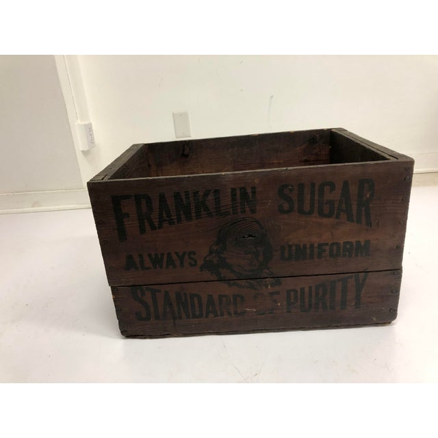 Vintage Industrial Wood Shipping Crate Box - Benjamin Franklin Sugar For Sale - Image 4 of 11