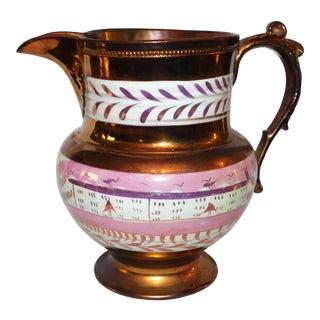 Antique 19th Century Copper Lustre Pitcher For Sale