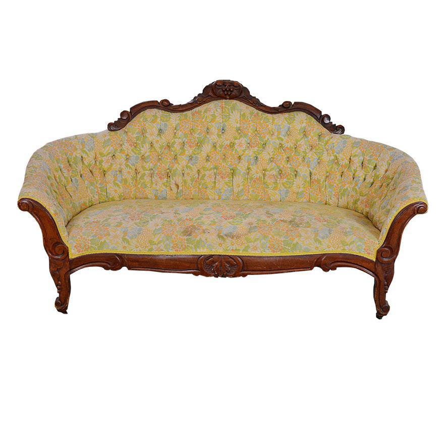 Well-known Late 19th Century Antique Walnut Victorian Tufted Sofa | Chairish KZ09