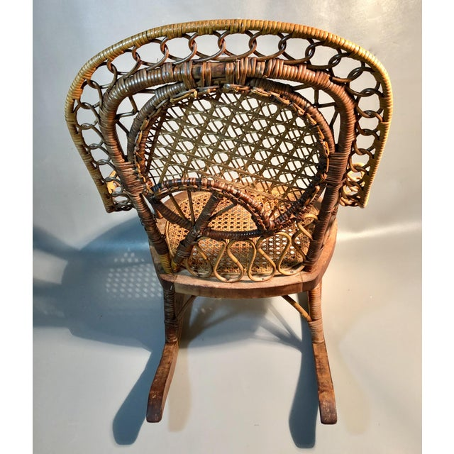 Late 19th Century C1860 Victorian Childs Rocking Chair Wicker Rattan Rocker Attrib. To Heywood Wakefield For Sale - Image 4 of 8