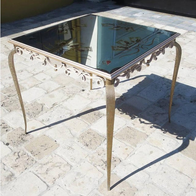 Glass Églomisé Mirrored Game Table in the Manner of Rene Drouet For Sale - Image 7 of 9