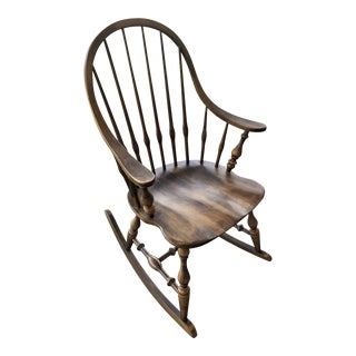 19th C. Ethan Allen Antique Solid Maple Windsor Rocking Chair For Sale