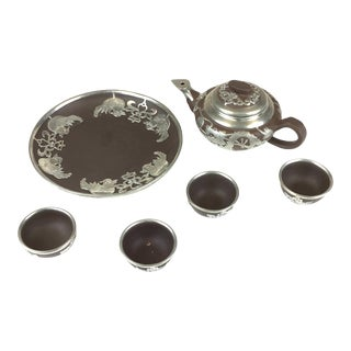 Antique Chinese Yixing Zisha Teapot Set with Silver Tone Overlay - 6 Pieces For Sale