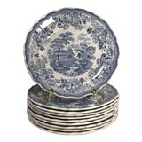 Image of Antique Staffordshire Blue and White Plates - Set of 10 For Sale