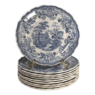 Antique Staffordshire Blue and White Plates - Set of 10 For Sale
