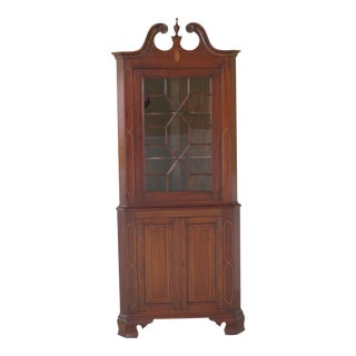 Bench Made Inlaid Mahogany Corner Cabinet