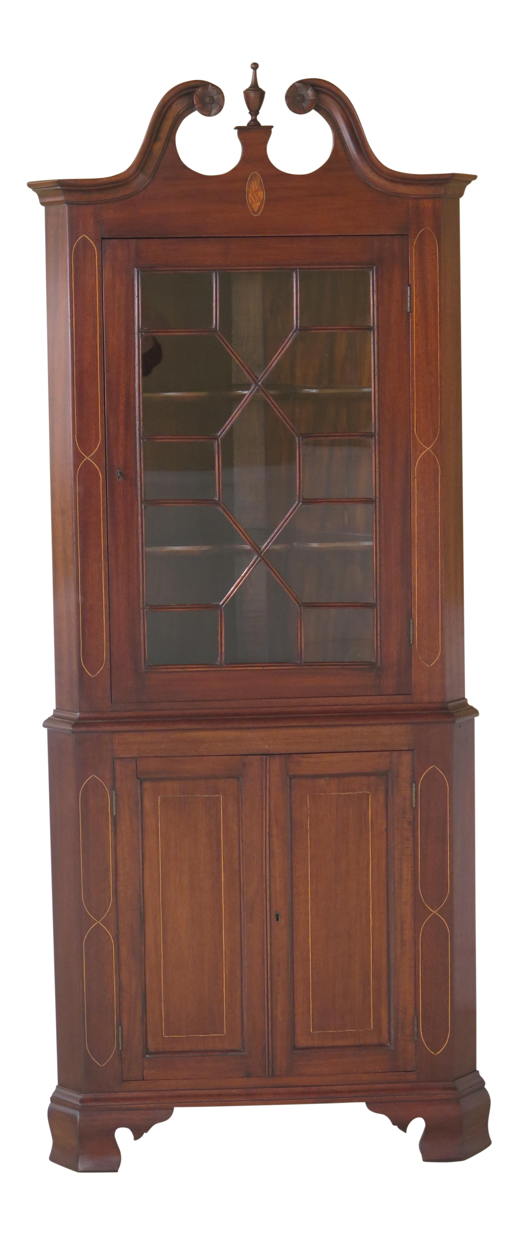 Bench Made Inlaid Mahogany Corner Cabinet For Sale