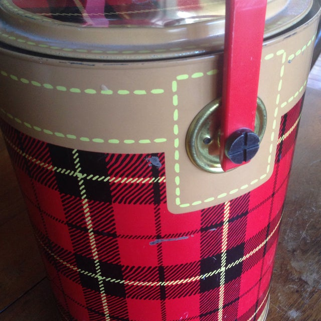 Mid Century Metal Plaid Cooler/Ice Bucket - Image 9 of 11