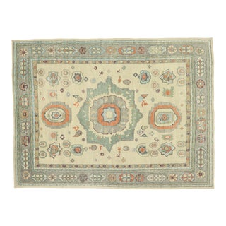 Contemporary Turkish Oushak Rug With Transitional Style - 10'06 X 14'01 For Sale