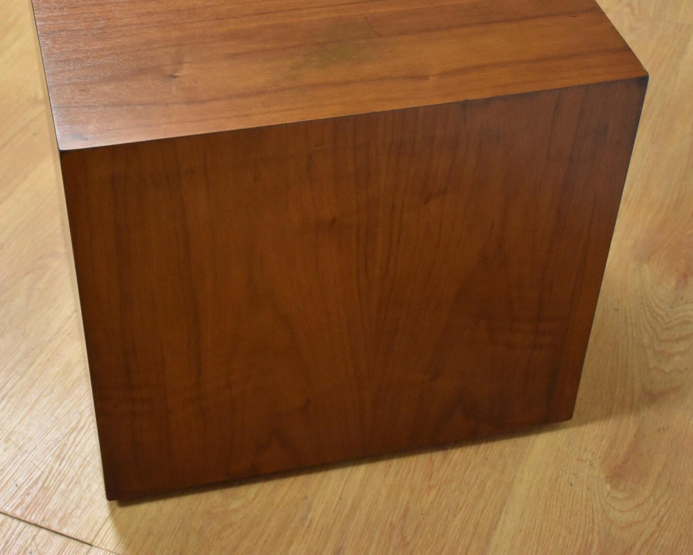 Milo Baughman Style Walnut Cube End Table   Image 5 Of 9