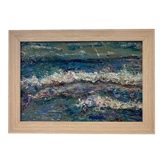 Contemporary Abstract Seascape Original Oil Painting, Framed For Sale
