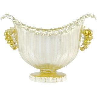 Barovier Toso Murano White Gold Flecks Italian Art Glass Compote Bowl Vase For Sale