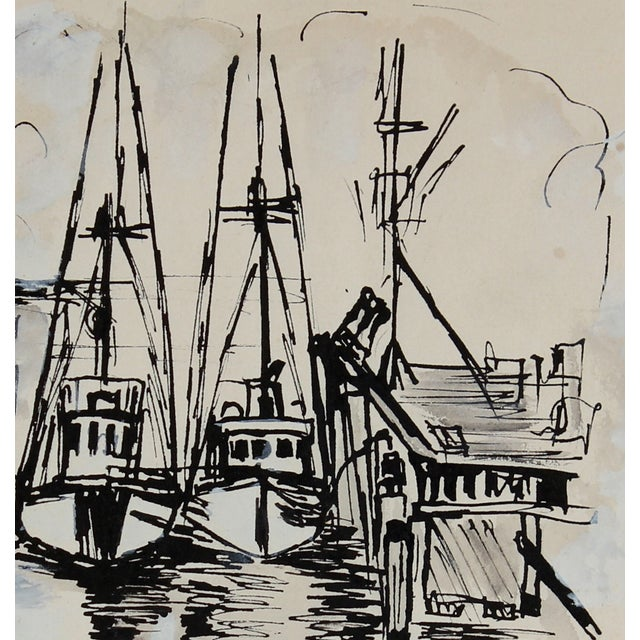 Fort Bragg, Ca Harbor Ink Drawing, 1967 - Image 2 of 2