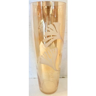 Vintage Tall Glass Vase With Etching Preview