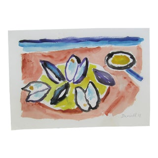 Plate of Mussels Original Watercolor Painting by G Daniell