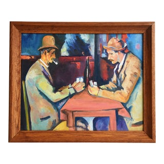 1950s Paul Cézanne's the Card Players Painting by Hug Stack For Sale
