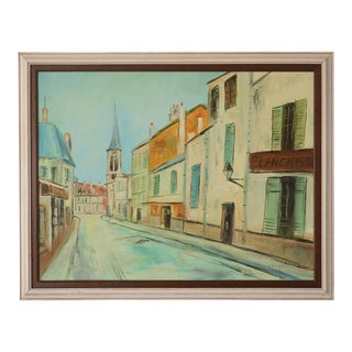 Mid 20th Century French Village Street Scene Painting, Framed For Sale