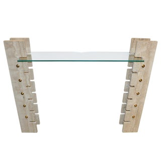 Jean Charles 1970s French Minimalist Ivory White Travertine Console For Sale