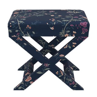 X Bench in Navy Bamboo Garden For Sale