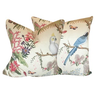 Mediterranean Custom Cinque Terra Botanical Pillows - a Pair For Sale