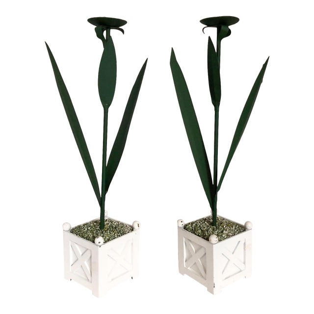 Tole Candle Holders, Pair For Sale