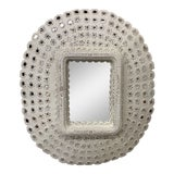 Image of Vintage White Peacock Mirror For Sale