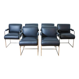 Milo Baughman Set of 6 Leather Dining Chairs For Sale