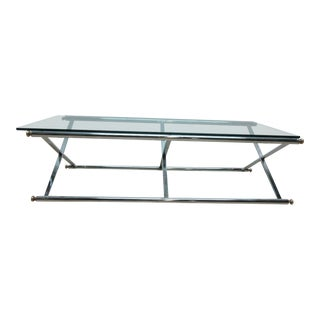 Long Vintage Mid-Century Regency Campaign X Base Chrome Glass Top Coffee Table For Sale