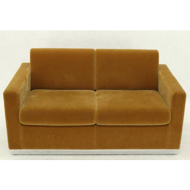Mohair Loveseat on High Polish Stainless Steel Base Ward Bennet for Brickel For Sale - Image 12 of 12