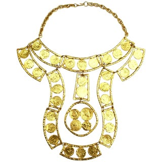 70s Kenneth Jay Lane Oversized Coin Necklace For Sale