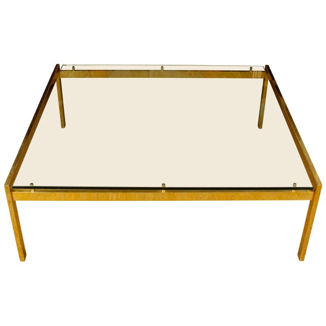 Mid 20th Century Large Mid-Century Modern Brass and Glass Square Table For Sale - Image 5 of 5