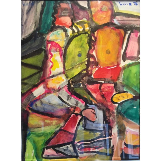 Green 1976 Figurative Gouache Painting For Sale - Image 8 of 8