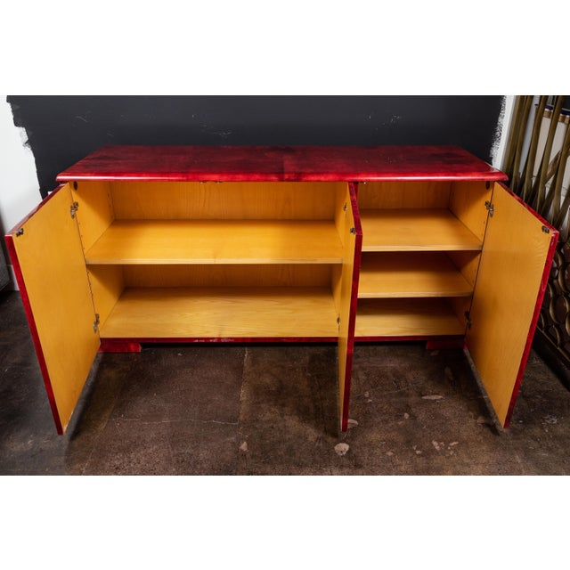 Mid-Century Modern Rare Aldo Tura Goatskin Cabinet/Sideboard For Sale - Image 3 of 8