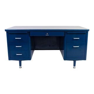 Marine Blue Steelcase Tanker Desk For Sale