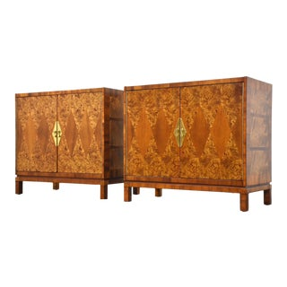Burl and Brass Modern Cabinets - a Pair For Sale