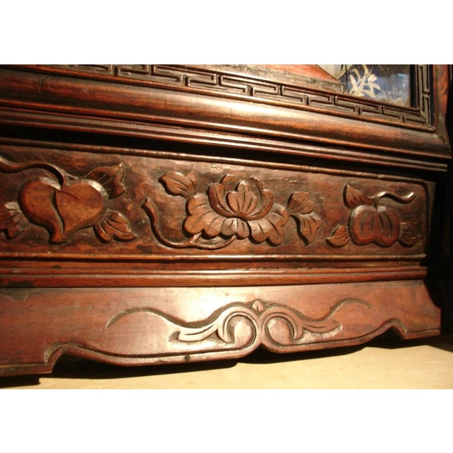 A Chinese Reverse Painted Glass and Hardwood Table Screen For Sale - Image 4 of 4