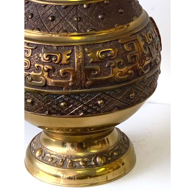 Chinese Brass Archaic Lamp, by Marbro Lamp Co. For Sale - Image 10 of 12