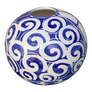 Bellini Ciao Italya Blue and White Hand-Painted Vase, Made in Italy For Sale