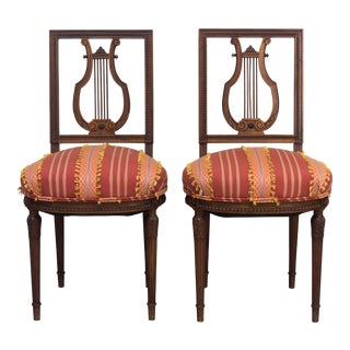 Late 19th Century Antique Louis XVI Style Parlor Chairs - A Pair