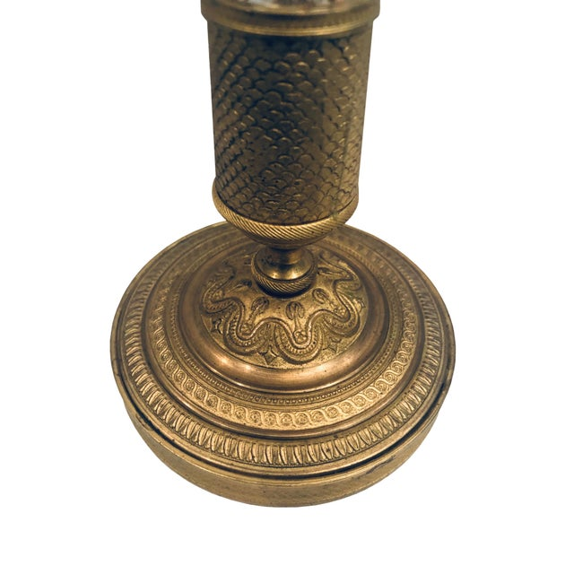 Metal Antique French Turn of the Century Empire-Style Candlesticks- a Pair For Sale - Image 7 of 9
