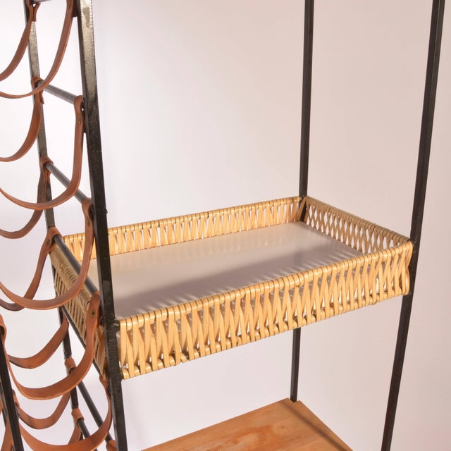 1950s Arthur Umanoff Leather and Iron Wine Rack For Sale - Image 5 of 8