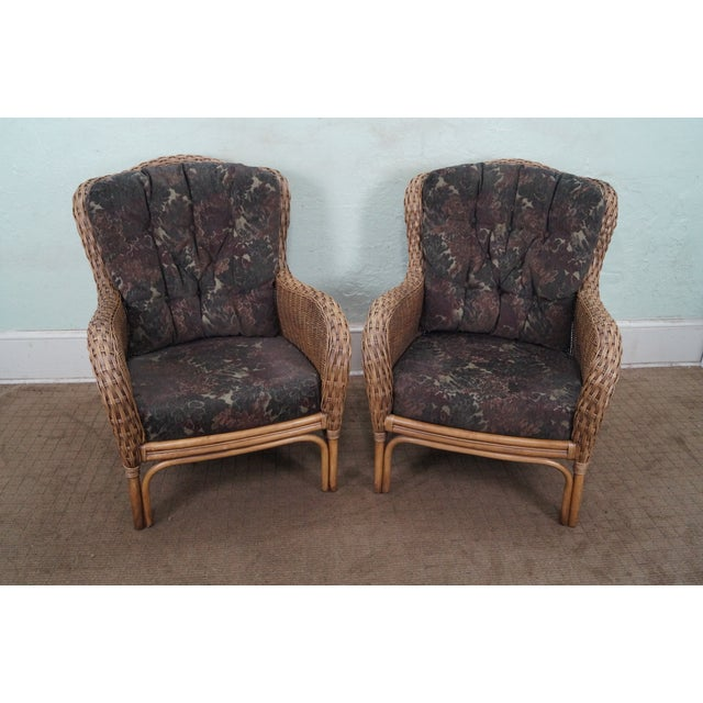 Braxton Culler Wicker Wing Lounge Chairs/Ottoman - Image 2 of 10