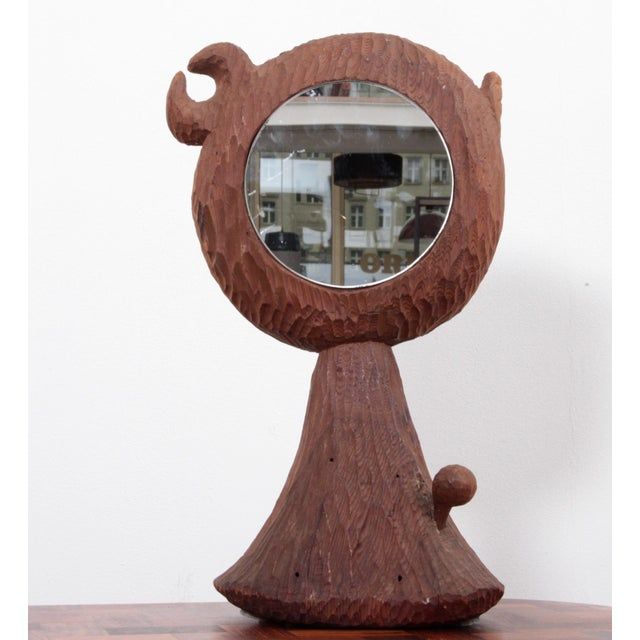 American Midcentury Redwood Sculpture Mirror by Jdmz Signed For Sale - Image 6 of 6