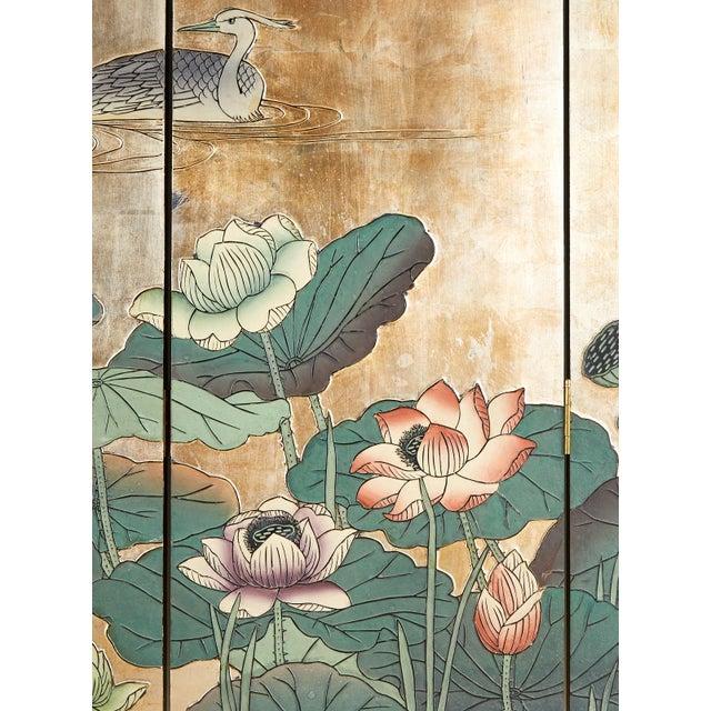 Mid 20th Century Chinese Export Gilt Coromandel Screen Crane Landscape For Sale - Image 5 of 13