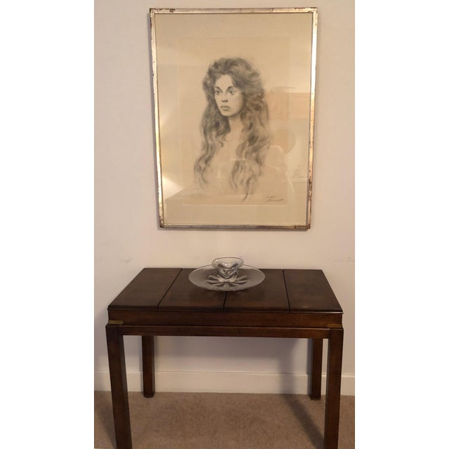 Lane Mid-Century Backgammon Campaign Console Table For Sale - Image 10 of 13
