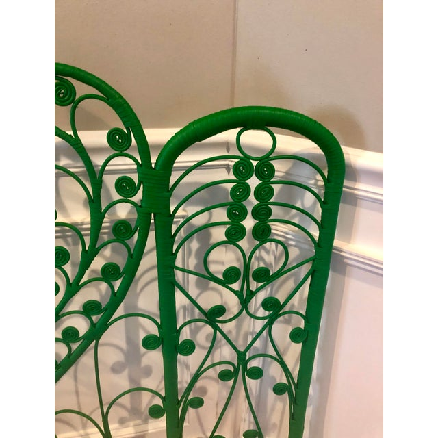 Vintage Boho Chic Wicker Emerald Green Twin Headboards - a Pair For Sale - Image 4 of 10