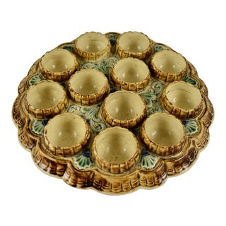 19th-C. French Majolica Twelve Cup Egg Stand, Platter For Sale