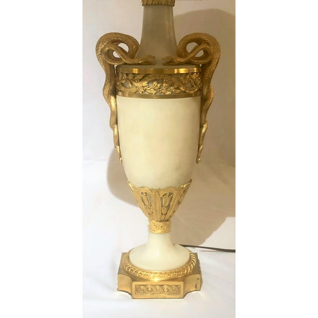 Pair Antique Exceptional Louis XVI Marble and Ormolu Mounted Urn Lamps, Circa 1820-1830.
