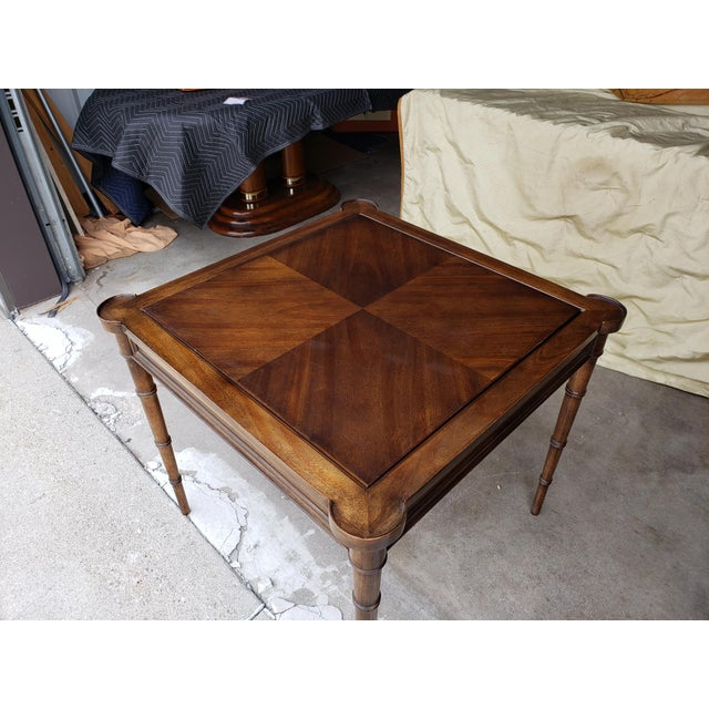 """Brown 1980s Hollywood Regency Drexel """"Et Cetera"""" Game Table Leather Top Game Table For Sale - Image 8 of 11"""