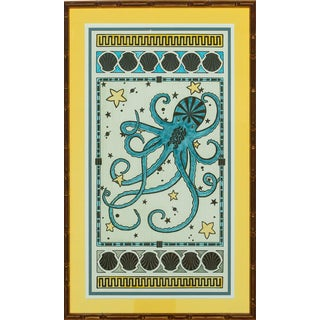 """""""Octopus & Shells"""" in Gilt Bamboo Frame For Sale"""